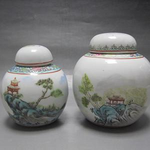 【联盟】五 六 七创汇期粉彩楼阁山水盖罐两个