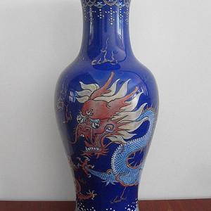 【联盟】精品乾隆宝石蓝釉描金苍龙教子图观音瓶