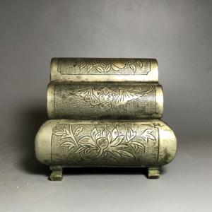 【精品】清代白铜刻花铜墨盒 香盒