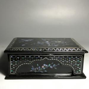 创汇期黑大漆镶嵌螺钿满工首饰盒