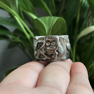 清代老银狮子戒指一枚