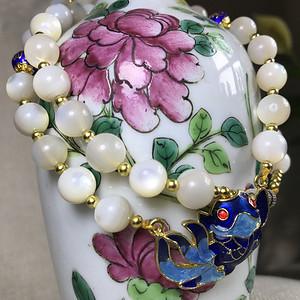 【珍贵美丽】天然螺钿圆珠项链一条