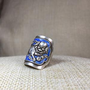 【精品老银】民国老银烤蓝狮子戒指一枚