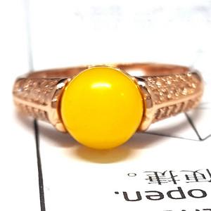 【精品】原矿2.8克鸡油黄蜜蜡925银戒指