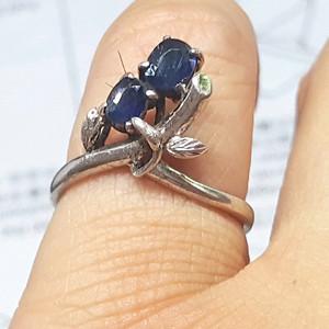 【精品】19世纪欧洲蓝宝石老银戒指