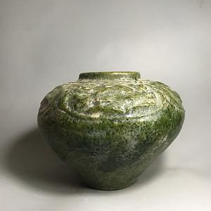 【全品三包】*绿釉跑兽罐一只