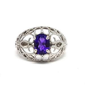 【精品】VVS级3.15克紫晶925银戒指