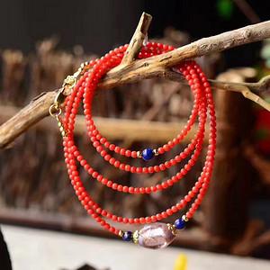 【联盟】天然沙丁红珊瑚有机宝石多圈珠串配青金石清宫琉璃