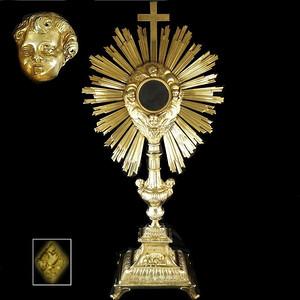 【收藏品】1300克18世纪银鎏金祈福圣光大摆件