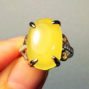 完美无裂蜜蜡戒指!波罗的海纯天然原矿无优化蜜蜡金绞蜜大蛋纯银戒指!