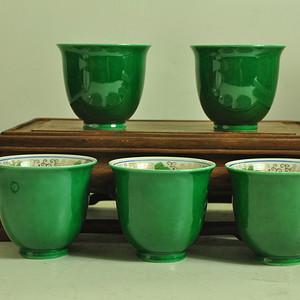 日本九谷青郊款瓷茶杯一套(五个)