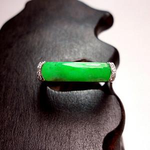 【0元起拍】正阳绿钻戒!18K金镶8钻天然A货翡翠老坑种满阳绿女士戒指