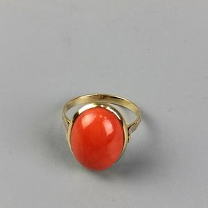 【金牌】 18K黄金嵌红珊瑚椭圆形戒指