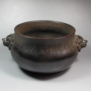 清代紫铜兽耳炉