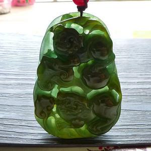 【金牌】缅甸天然A货翡翠黄加绿厚装神兽挂件