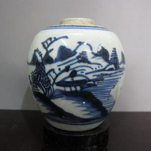 金牌--清早期青花山水小罐