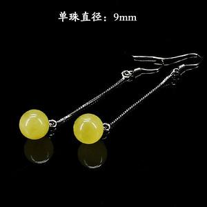 天然蜜蜡圆珠耳饰·925银镶嵌--9163