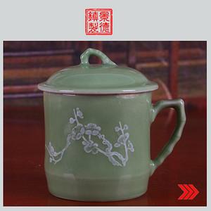 景德镇文革老厂瓷器/精品收藏/建国瓷厂绿釉堆白釉把子花卉图茶杯