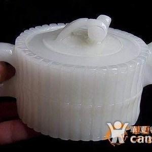 联盟】阿富汗精白玉 超级 大摆件:竹节型茶壶