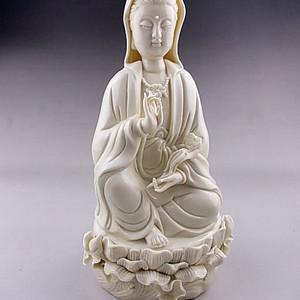 【联盟】润白细腻德化瓷精雕大摆件:如意 观世音