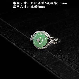 冰种苹果绿翡翠耳饰·925银镶嵌--6729