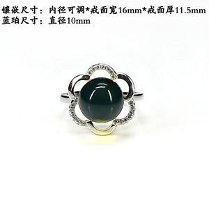 天然蓝珀戒指.925银镶嵌--6742