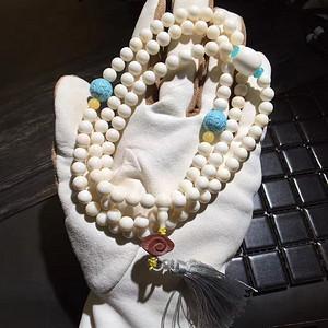 极品纯天然猛犸象牙民族风佛珠手串 搭配天然绿松石