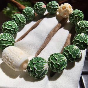 金本大师纯手工雕刻猛犸象牙彩绘【百财】白菜手链 永不掉色 镶嵌进去的