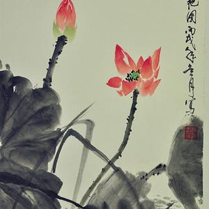 荷塘双艳图