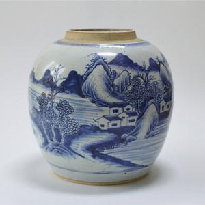 清早 青花通景山水人物罐