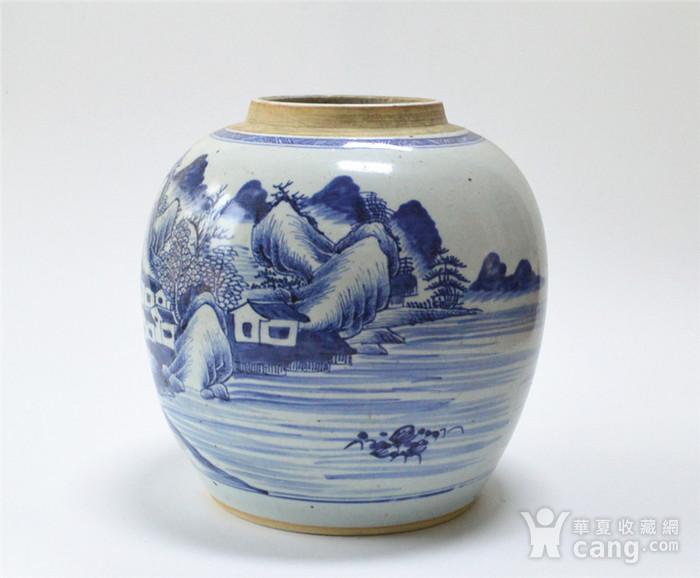 清早 青花通景山水人物罐图2