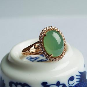 【金牌】老坑浅绿翡翠蛋面玫瑰金戒指-30HL25