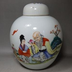 民国粉彩*寿星绘画罐