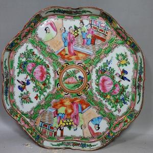 清代广彩人物花鸟绘画茶盘