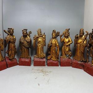 清代木鎏金八仙人物雕刻摆件一套