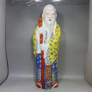 清代大号粉彩寿星人物塑像