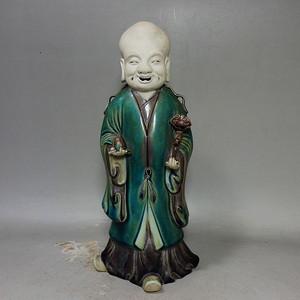 清代绿彩寿星人物塑像