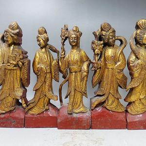 清代木鎏金侍女人物雕像一套