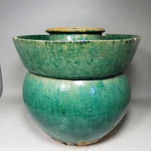 清代大号绿釉盘口罐