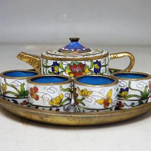 清代景泰蓝茶具一套