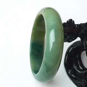【金牌】缅甸天然A货翡翠冰润带绿宽边手镯