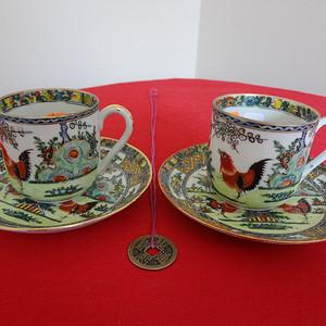 【金牌】【442-337】民国绿广彩公鸡纹小杯碟两套成对