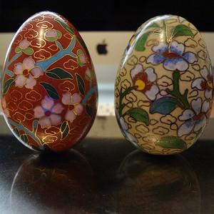 【金牌】【528+475-280】 民国铜胎掐丝珐琅花卉纹鸡蛋一对
