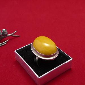 【金牌】银镶满蜡戒指