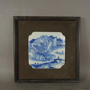 【季度大拍】清晚期#青花通景人物故事纹饰瓷板一块