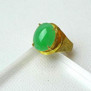 【金牌】缅甸天然A货翡翠冰种满绿镶铜戒指