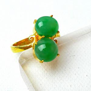 【金牌】缅甸天然A货翡翠冰种满绿托铜戒指