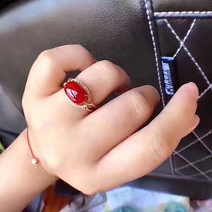 纯天然阿卡牛血红珊瑚戒指  支持复检