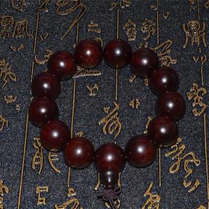 高密鸡血红印度小叶紫檀带金星1.8大珠手串