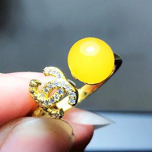 漂亮鸡油黄!波罗的海天然原矿蜜蜡满蜜圆珠纯银镀18K黄金戒指